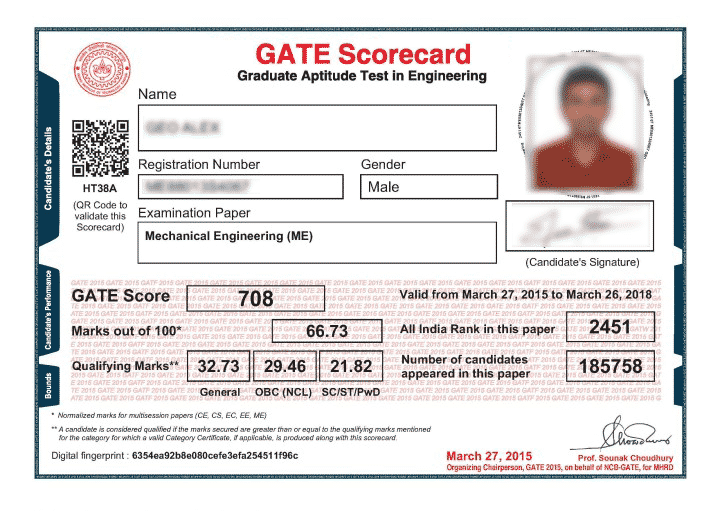 GATE 2018 Result   GATE Result Login for CS EC CE EE & all Branches