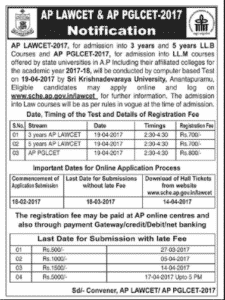 APLAWCET 2017 Notification | AP Law CET Exam Syllabus, Pattern, Fee, Web Options